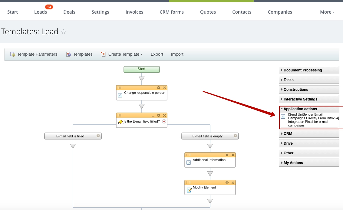 The option of automatic dispatch of letters through business processes  (Self-hosted version)